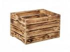 Výrobek: Opálená dřevěná bedýnka 40 x 30 x 24 cm