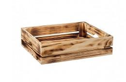 Obrázek výrobku: Opálená drevená bedýnka 40 x 30 x 10 cm