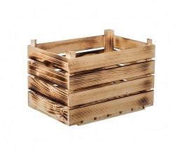 Obrázek výrobku: Opálená dřevěná bedýnka 40 x 26 x 26 cm