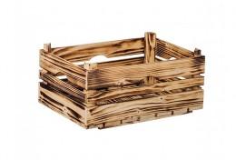 Obrázek výrobku: Opálená dřevěná bedýnka 40 x 26 x 18 cm
