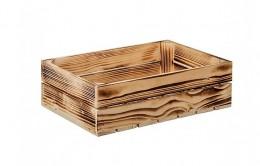 Obrázek výrobku: Opálená dřevěná bedýnka 40 x 26 x 12 cm