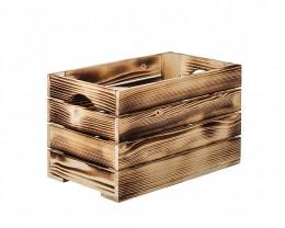 Obrázek výrobku: Opálená drevená bedýnka 40 x 22 x 24 cm