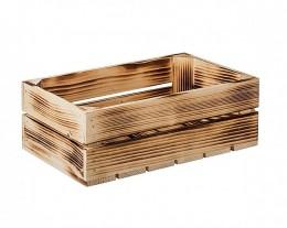 Obrázek výrobku: Opálená dřevěná bedýnka 34 x 20 x 12 cm