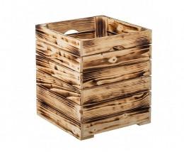 Obrázek výrobku: Opálená dřevěná bedýnka 30 x 30 x 35 cm