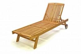 Obrázek výrobku: DIVERO zahradní lehátko z týkového dřeva s kolečky