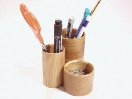 Obrázek výrobku: Stojánek na kancelářeké potřeby - trojválec - dub