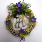 Výrobek: Velikonoční věnec s fialovými květy