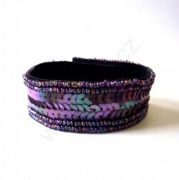 Obrázek výrobku: Náramek z flitrů - měňavě fialkový