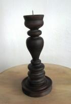 Výrobek: Dřevěný soustružený svícen - barva tmavě hnědý palisandr