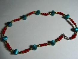 Obrázek výrobku: Tyrkyzovo-červený náhrdelník